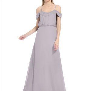 Azazie ava dusk colored hemmed bridesmaid dress